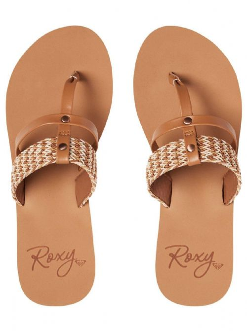 ROXY WOMENS FLIP FLOPS.AILANI BROWN BRAIDED MULE THONGS BEACH SANDALS 8S 624 BRN